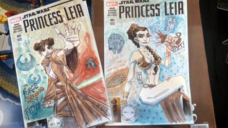 Princess Leia NYCC sketch covers by J. M. DeSantis