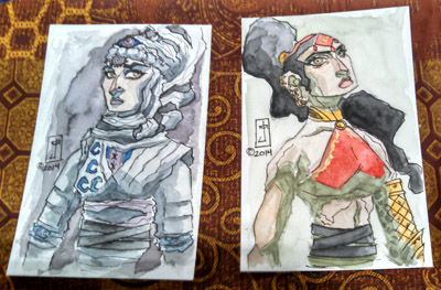Chadhiyana watercolour sketches - Boston Comic Con 2014