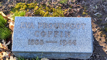 Eva Proudfoot Coffin grave, Brookside Cemetery, Englewood, NJ