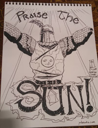 Solaire Praise the Sun Con sketch